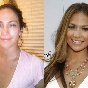 J-Lo with and without makeup
